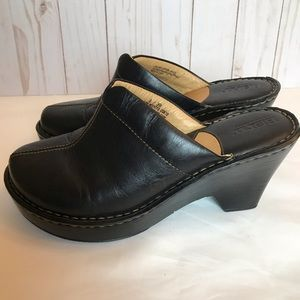 Born Brown Leather Clogs Wedges